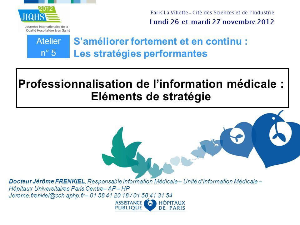 Professionnalisation de l'information médicale : Eléments de stratégie