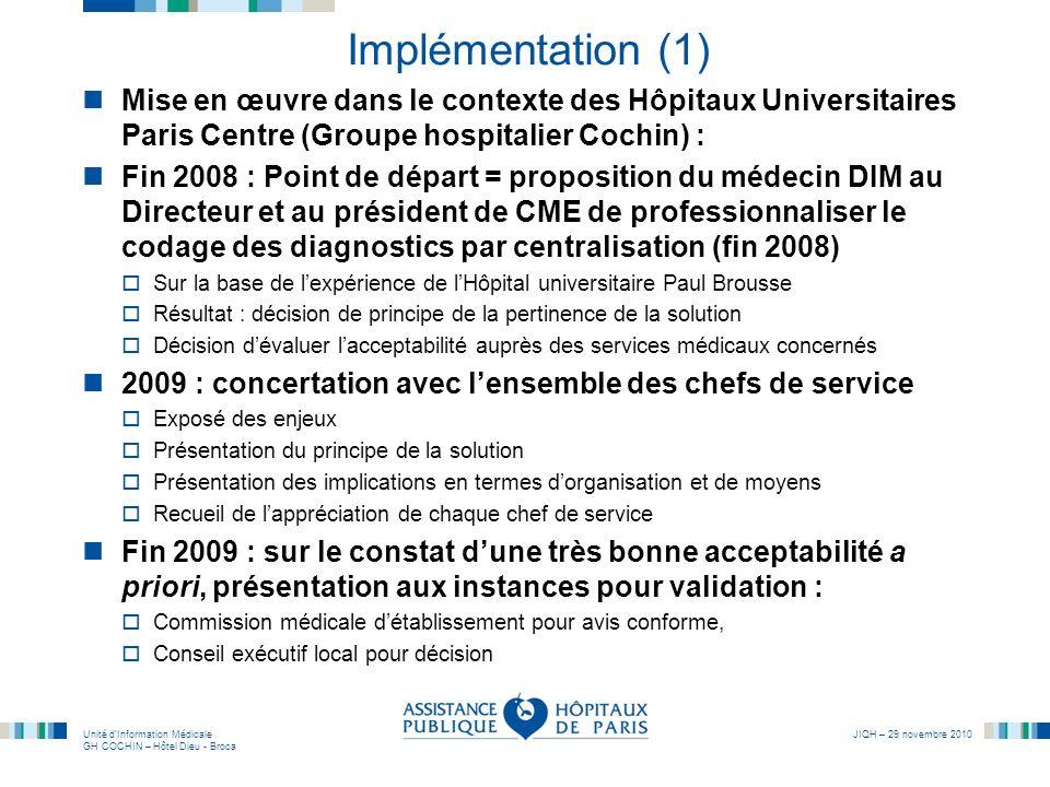 Implémentation (1) Mise en œuvre dans le contexte des Hôpitaux Universitaires Paris Centre (Groupe hospitalier Cochin) :