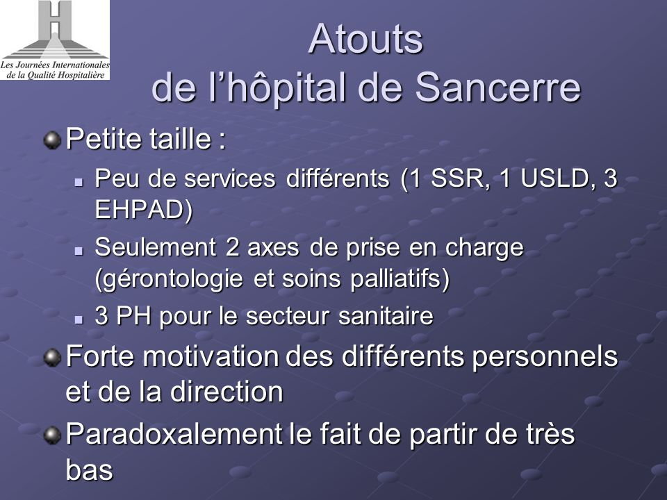 Atouts de l'hôpital de Sancerre