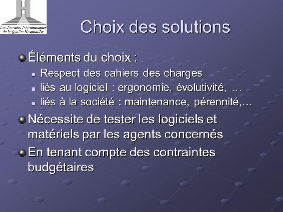 Choix des solutions Éléments du choix :