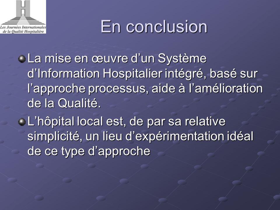 En conclusion La mise en œuvre d'un Système d'Information Hospitalier intégré, basé sur l'approche processus, aide à l'amélioration de la Qualité.