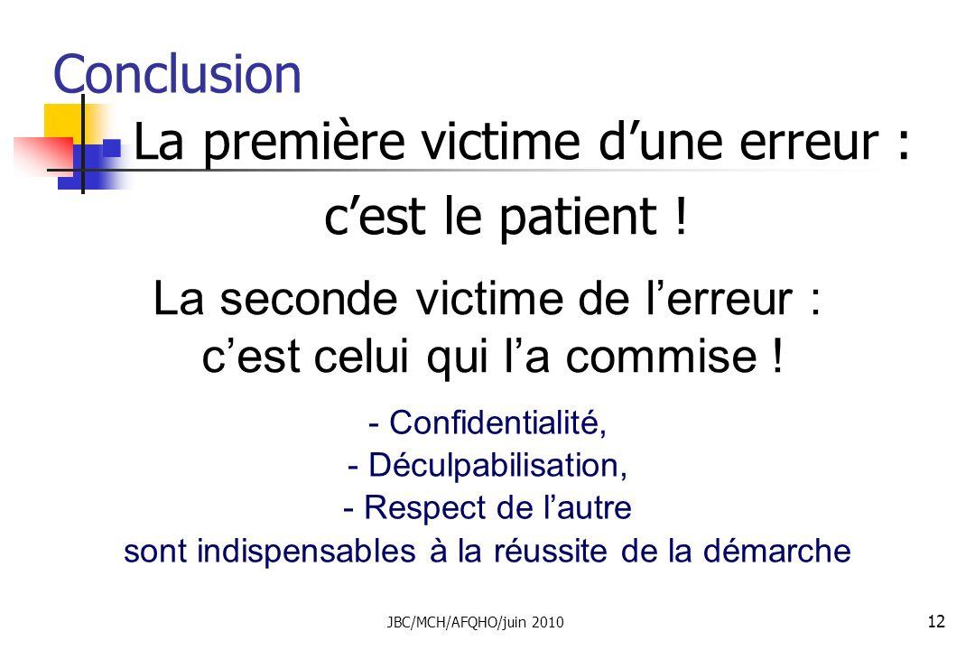 Conclusion La première victime d'une erreur : c'est le patient !