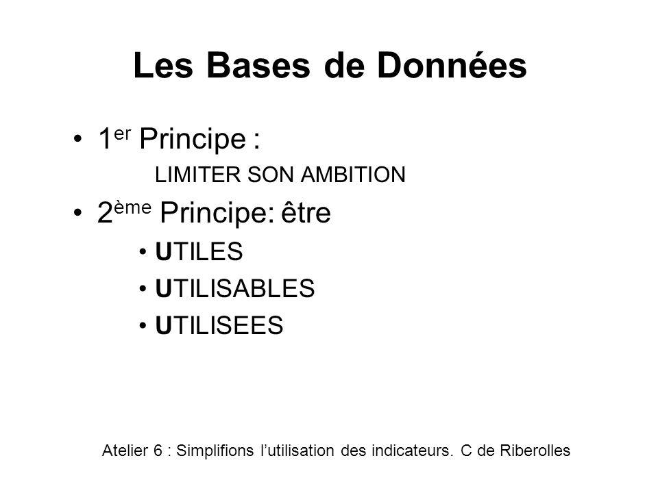 Les Bases de Données 1er Principe : 2ème Principe: être UTILES