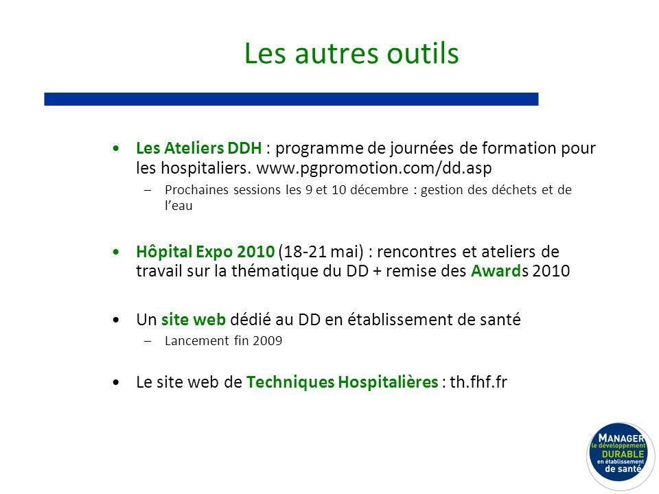 Les autres outils Les Ateliers DDH : programme de journées de formation pour les hospitaliers. www.pgpromotion.com/dd.asp.