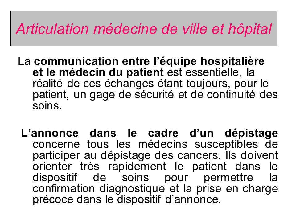 Articulation médecine de ville et hôpital