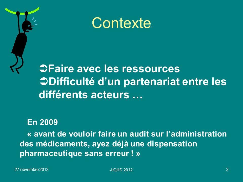 Contexte Faire avec les ressources Difficulté d'un partenariat entre les différents acteurs … En 2009.
