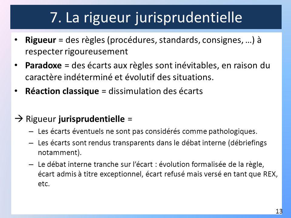 7. La rigueur jurisprudentielle