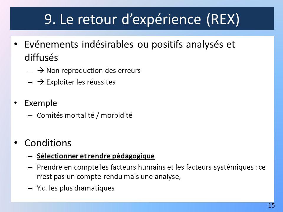 9. Le retour d'expérience (REX)