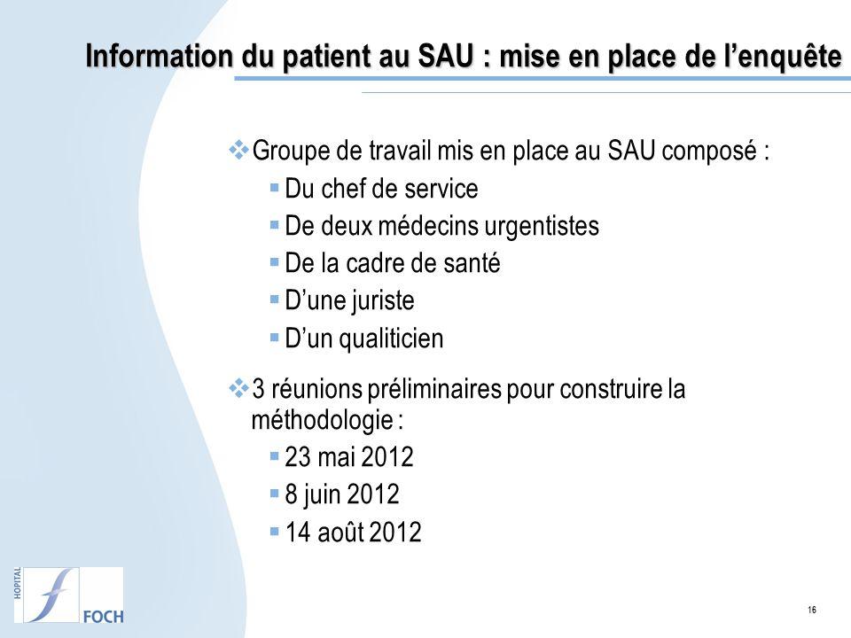 Information du patient au SAU : mise en place de l'enquête