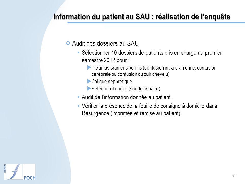 Information du patient au SAU : réalisation de l'enquête