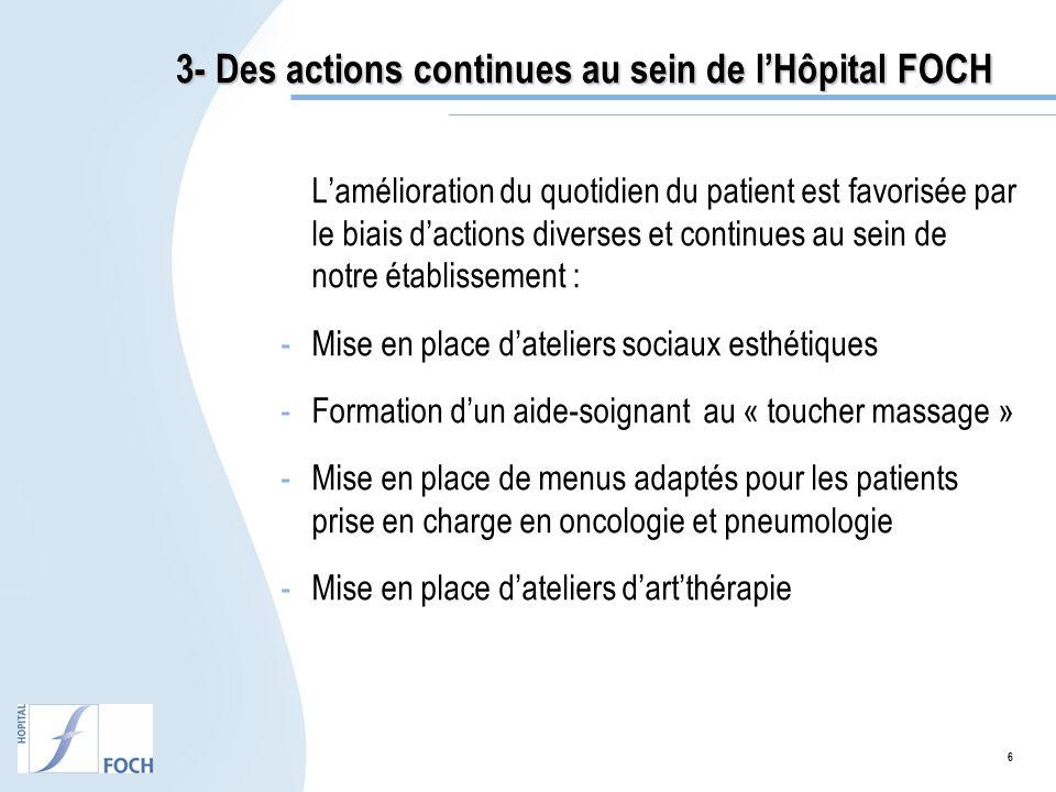 3- Des actions continues au sein de l'Hôpital FOCH