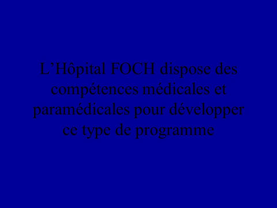 L'Hôpital FOCH dispose des compétences médicales et paramédicales pour développer ce type de programme