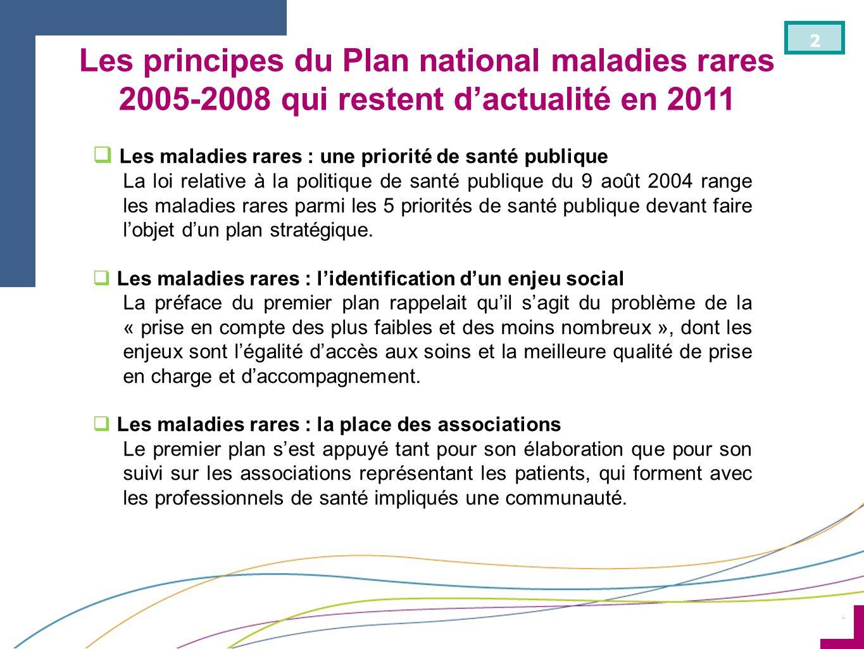 Les principes du Plan national maladies rares 2005-2008 qui restent d'actualité en 2011