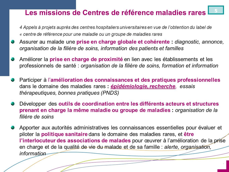 Les missions de Centres de référence maladies rares