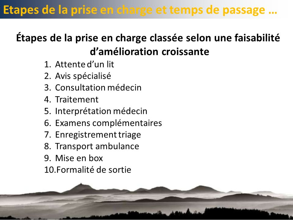 Etapes de la prise en charge et temps de passage …