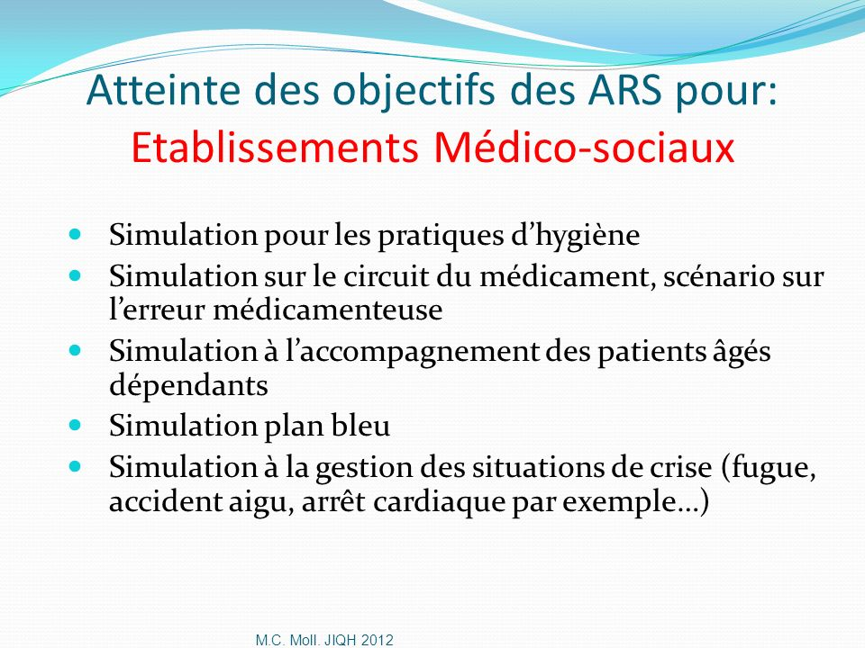 Atteinte des objectifs des ARS pour: Etablissements Médico-sociaux