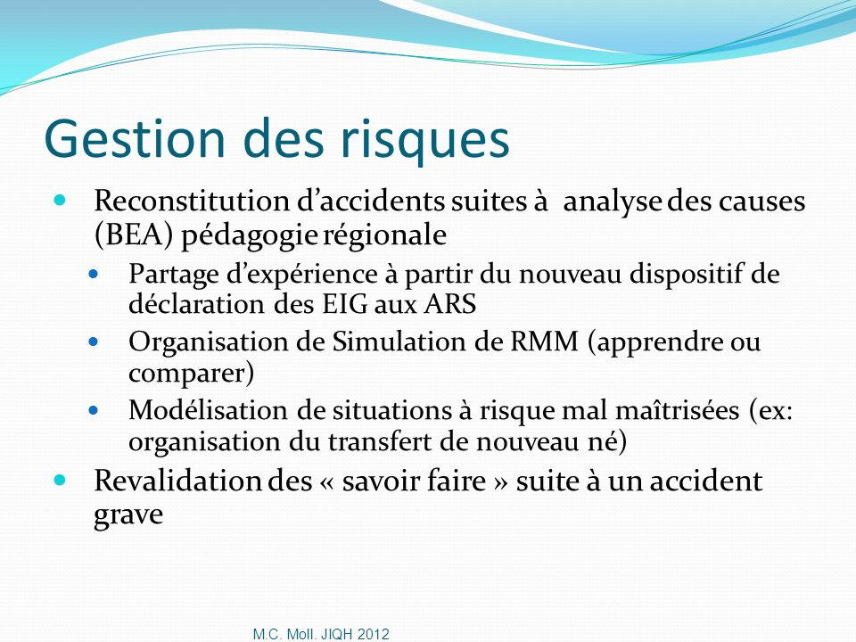 Gestion des risques Reconstitution d'accidents suites à analyse des causes (BEA) pédagogie régionale.