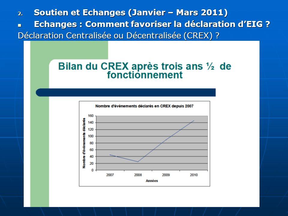Soutien et Echanges (Janvier – Mars 2011)