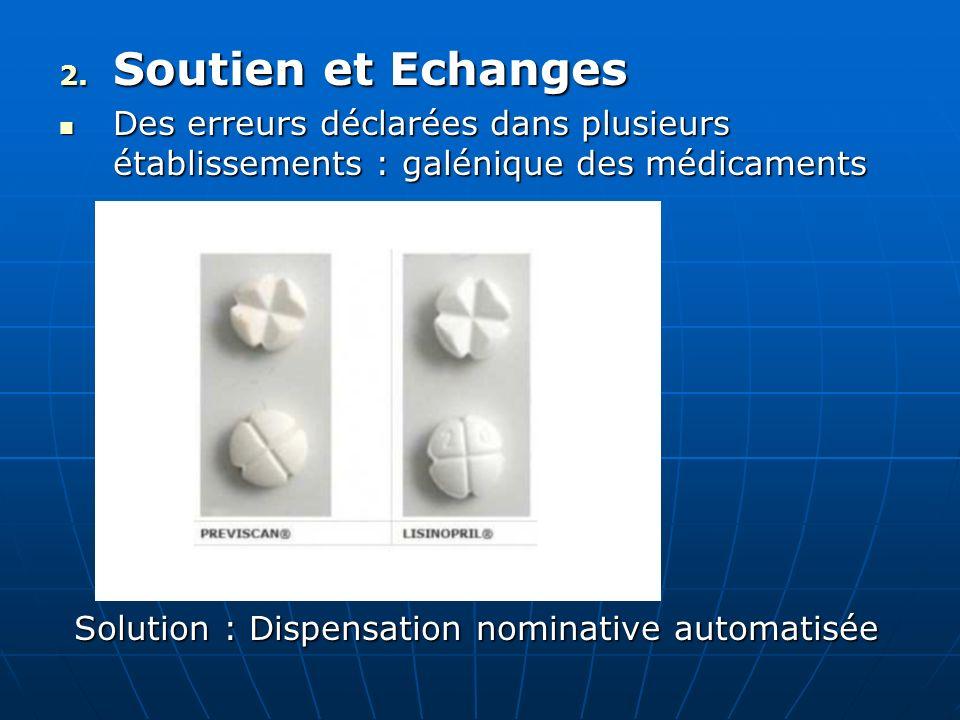 Soutien et EchangesDes erreurs déclarées dans plusieurs établissements : galénique des médicaments.