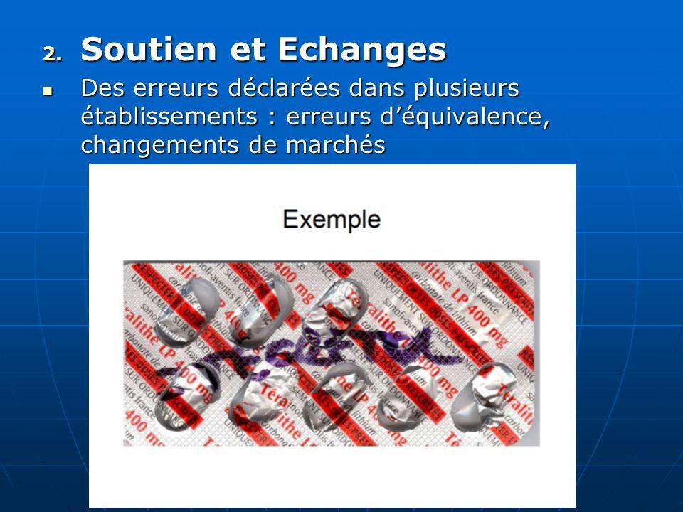 Soutien et EchangesDes erreurs déclarées dans plusieurs établissements : erreurs d'équivalence, changements de marchés.