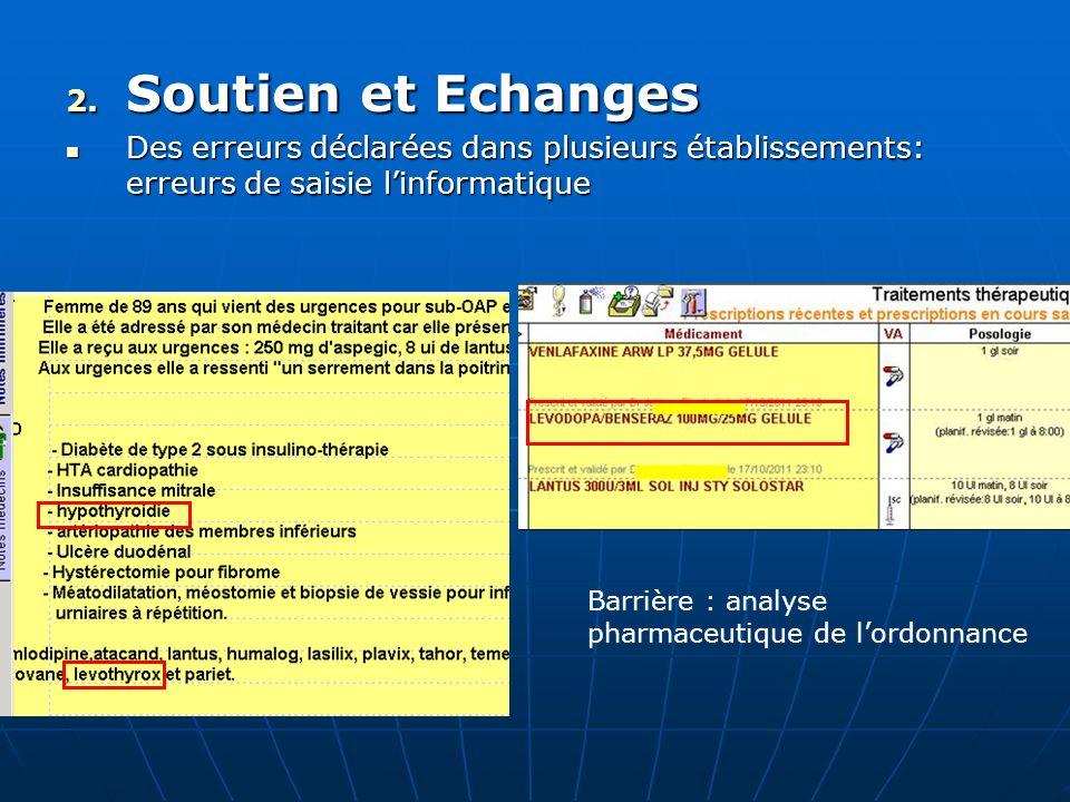 Soutien et EchangesDes erreurs déclarées dans plusieurs établissements: erreurs de saisie l'informatique.