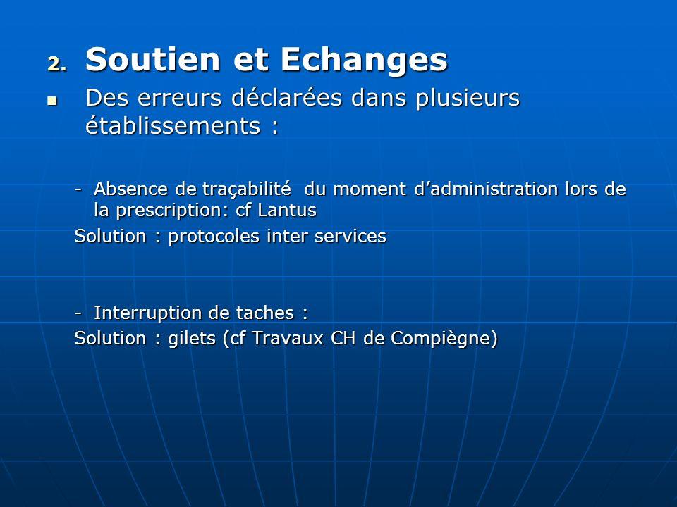Soutien et EchangesDes erreurs déclarées dans plusieurs établissements :