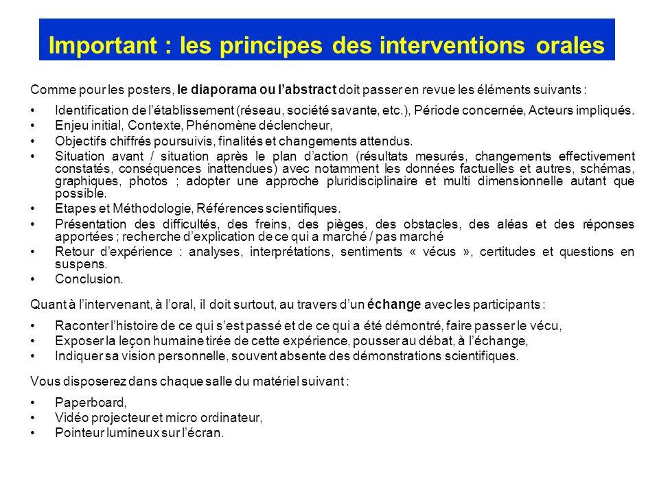 Important : les principes des interventions orales