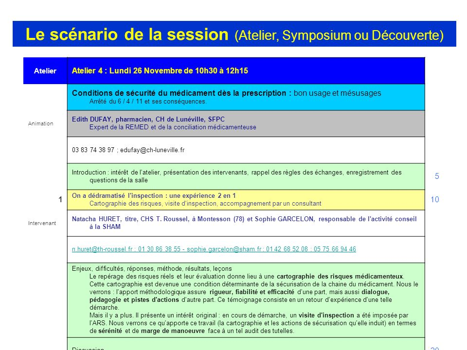 Le scénario de la session (Atelier, Symposium ou Découverte)