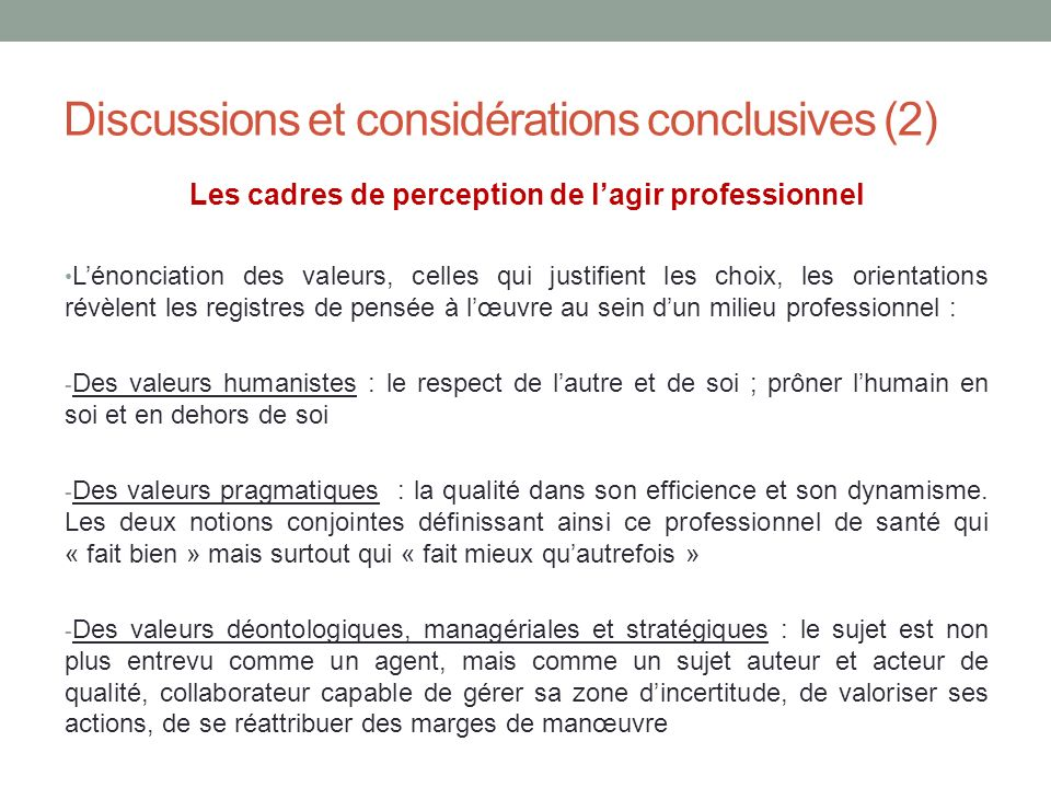 Discussions et considérations conclusives (2)