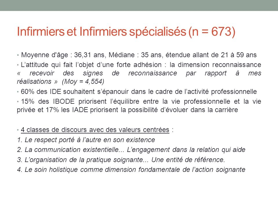 Infirmiers et Infirmiers spécialisés (n = 673)