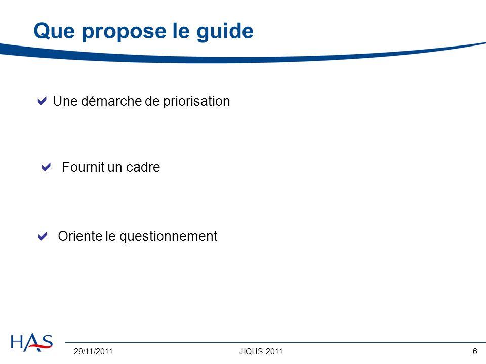 Que propose le guide Une démarche de priorisation  Fournit un cadre