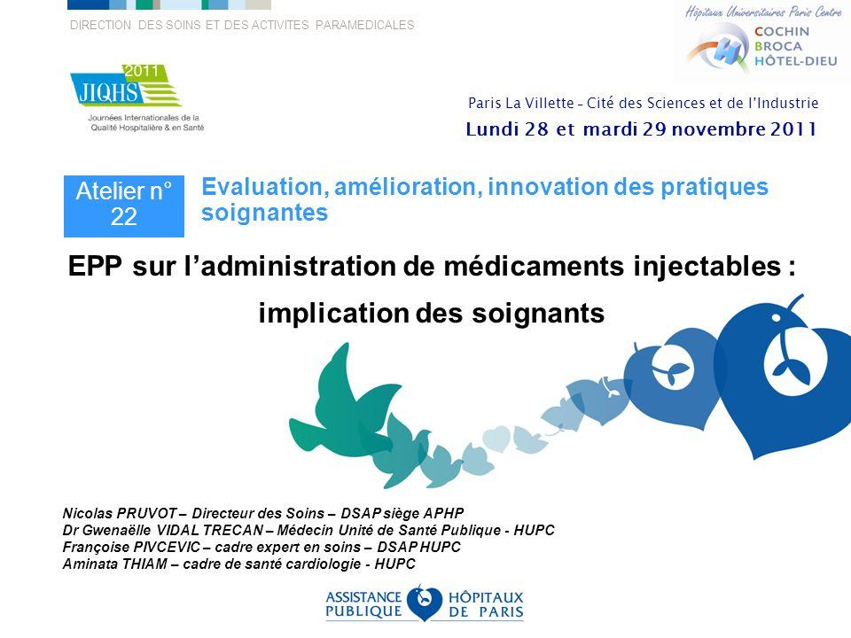 EPP sur l'administration de médicaments injectables :