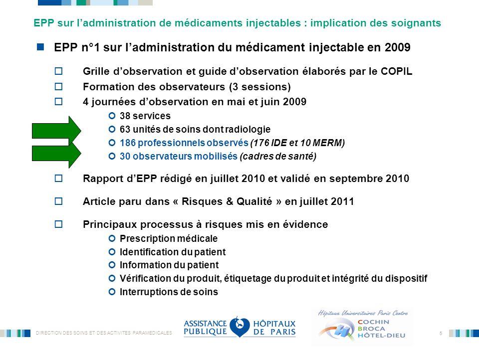 EPP n°1 sur l'administration du médicament injectable en 2009