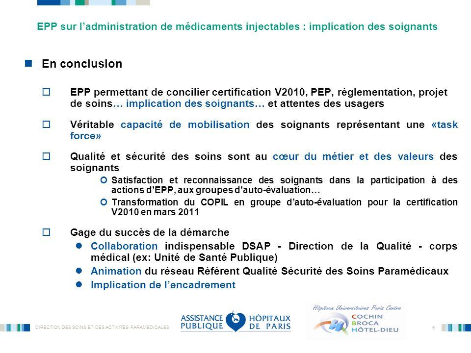 EPP sur l'administration de médicaments injectables : implication des soignants