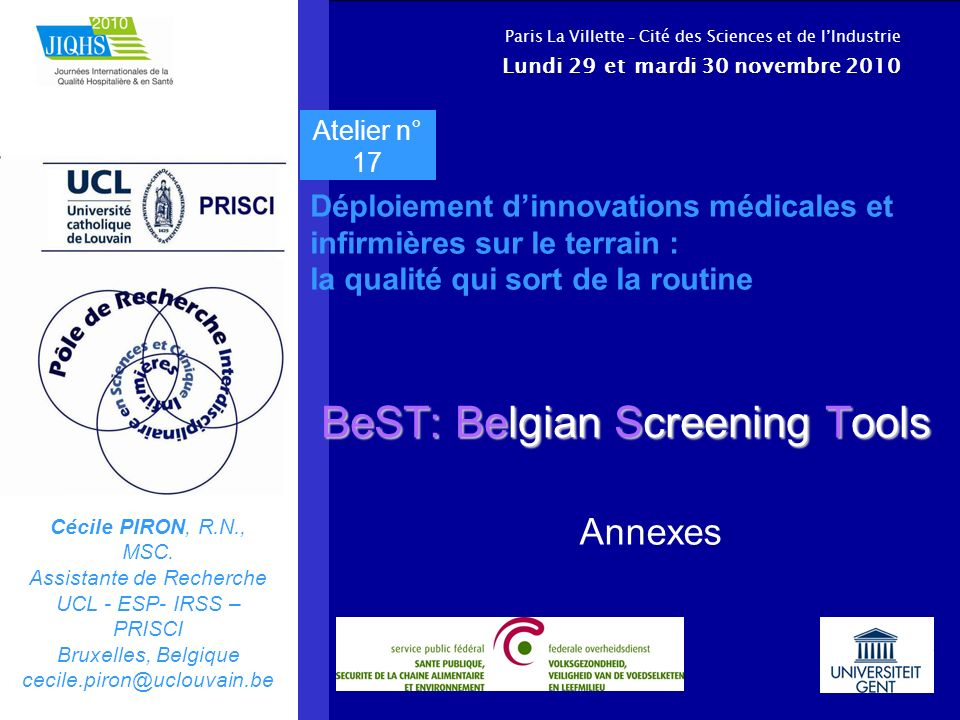 BeST: Belgian Screening Tools