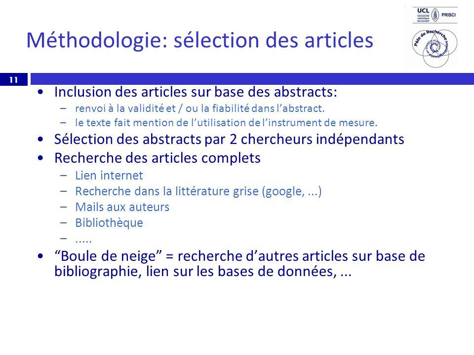 Méthodologie: sélection des articles