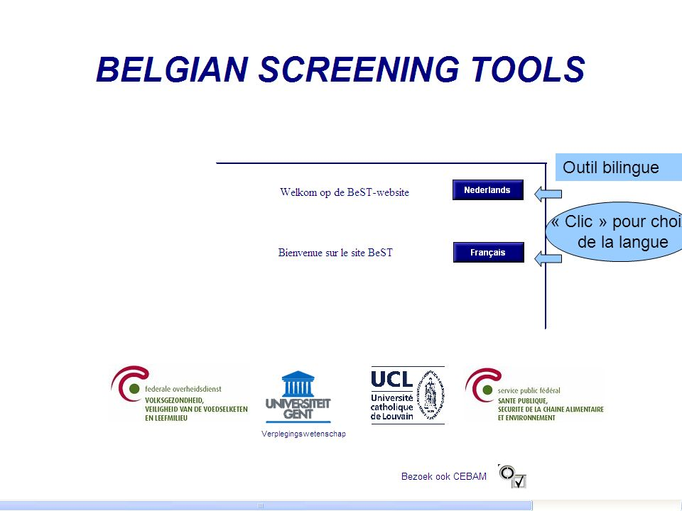 Outil bilingue « Clic » pour choix de la langue