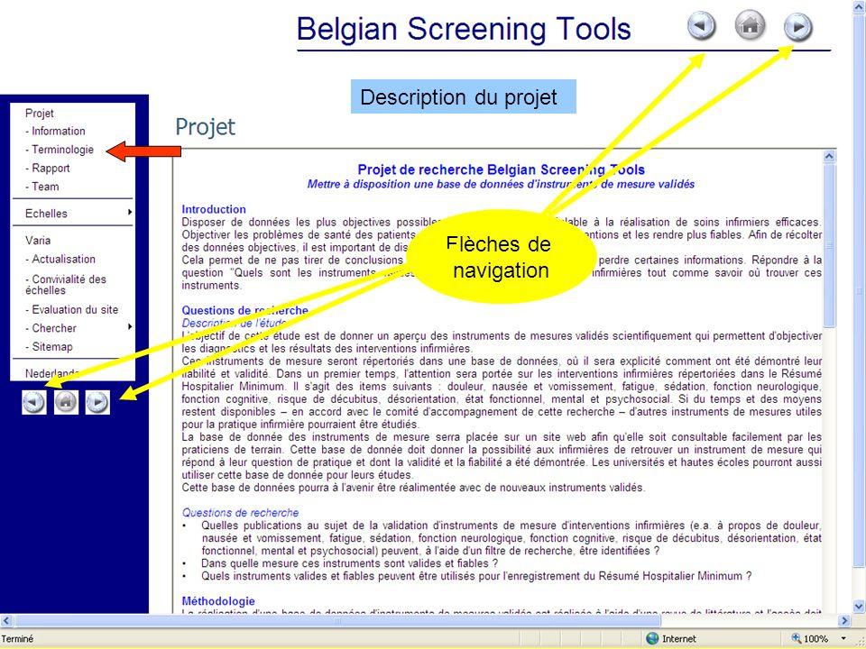 Description du projet Flèches de navigation