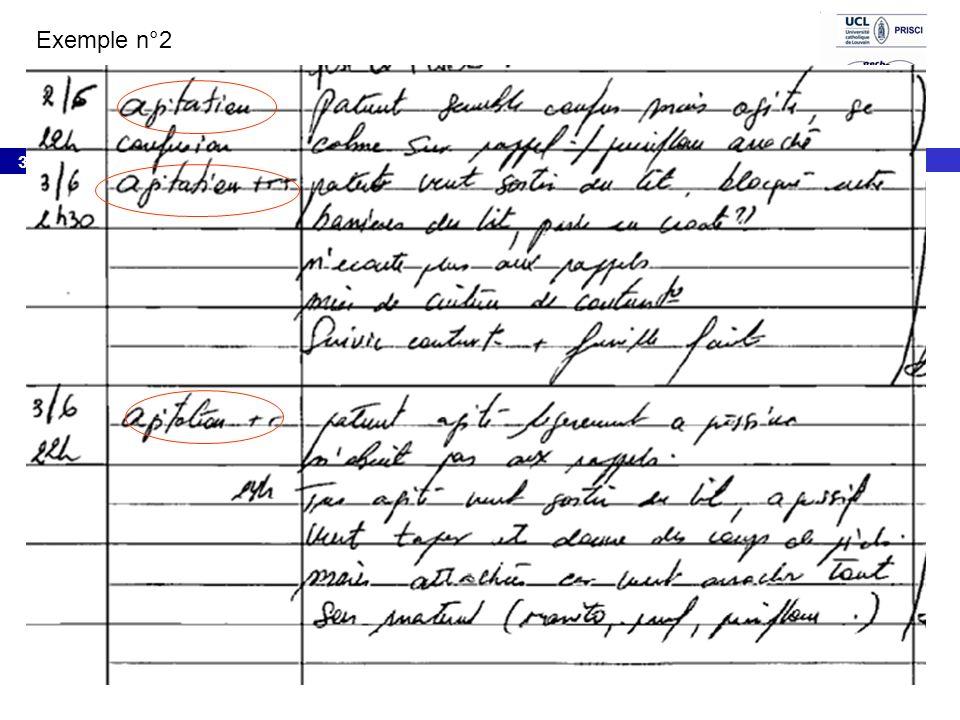 Exemple n°2 2/6 22h agitation/Confusion: Patient semble confus mais agité, se calme sur rappel , peniflow arraché.