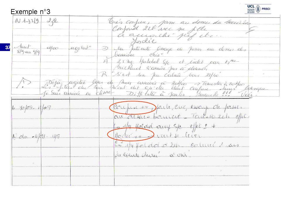 Exemple n°3 Exemple n°2: Nuit 1 au 2/9 23h Très confuse, passe au dessus des barrières, confond 22F avec sa fille.