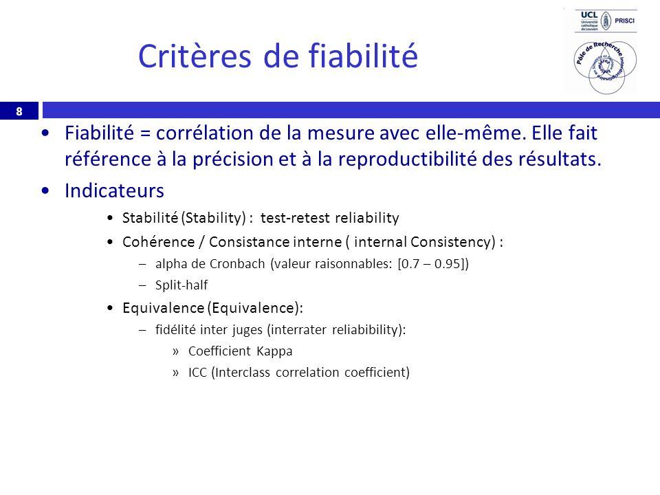 Critères de fiabilité Fiabilité = corrélation de la mesure avec elle-même. Elle fait référence à la précision et à la reproductibilité des résultats.