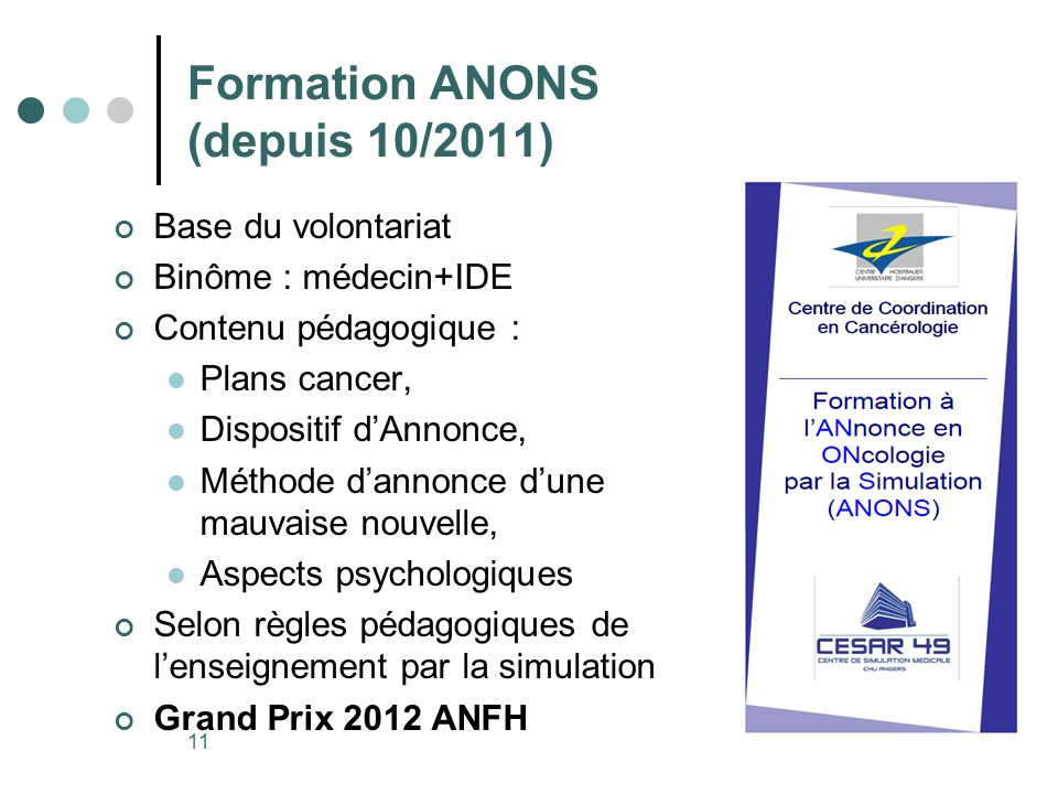 Formation ANONS (depuis 10/2011)