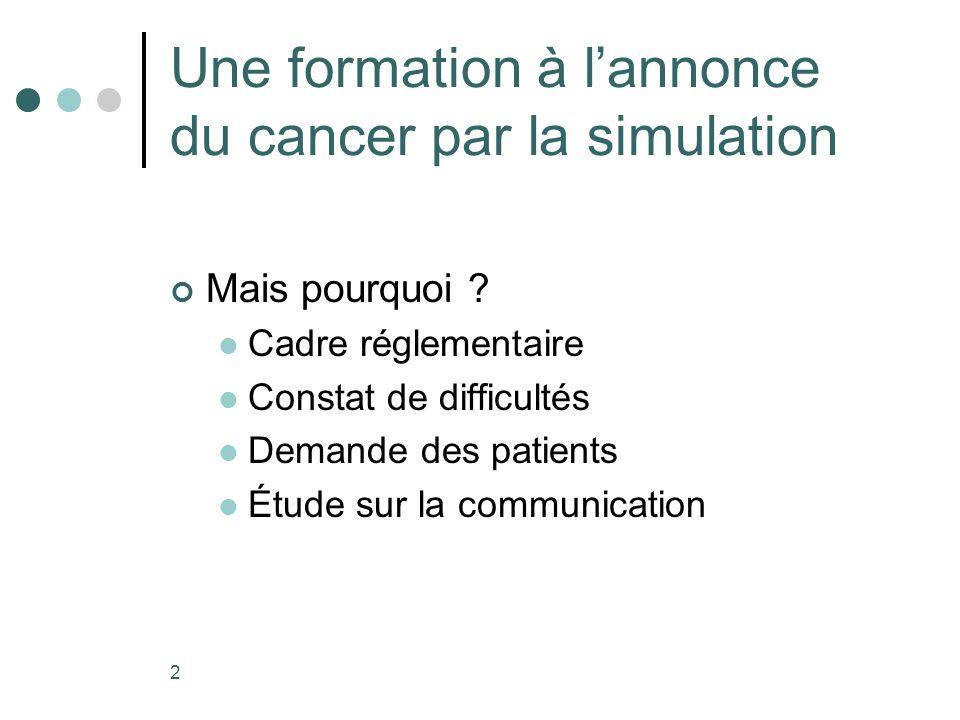 Une formation à l'annonce du cancer par la simulation