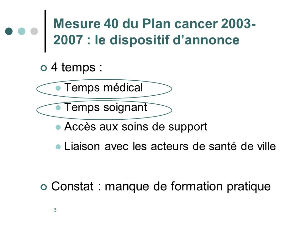 Mesure 40 du Plan cancer 2003-2007 : le dispositif d'annonce