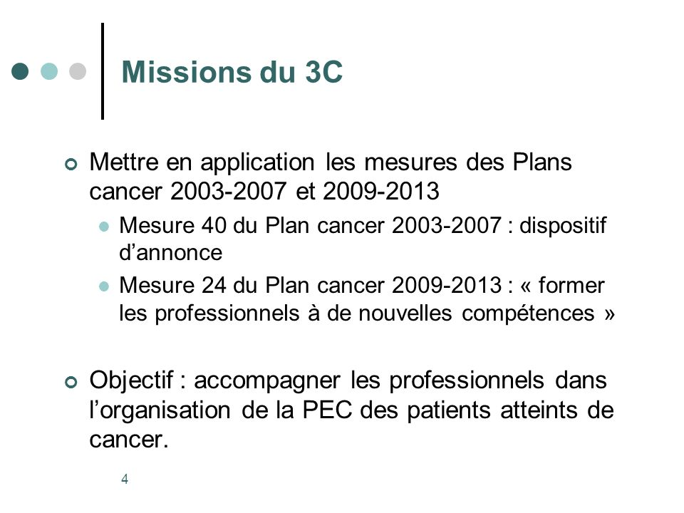 Missions du 3C Mettre en application les mesures des Plans cancer 2003-2007 et 2009-2013. Mesure 40 du Plan cancer 2003-2007 : dispositif d'annonce.