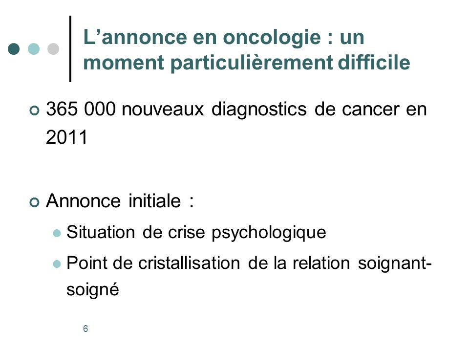 L'annonce en oncologie : un moment particulièrement difficile