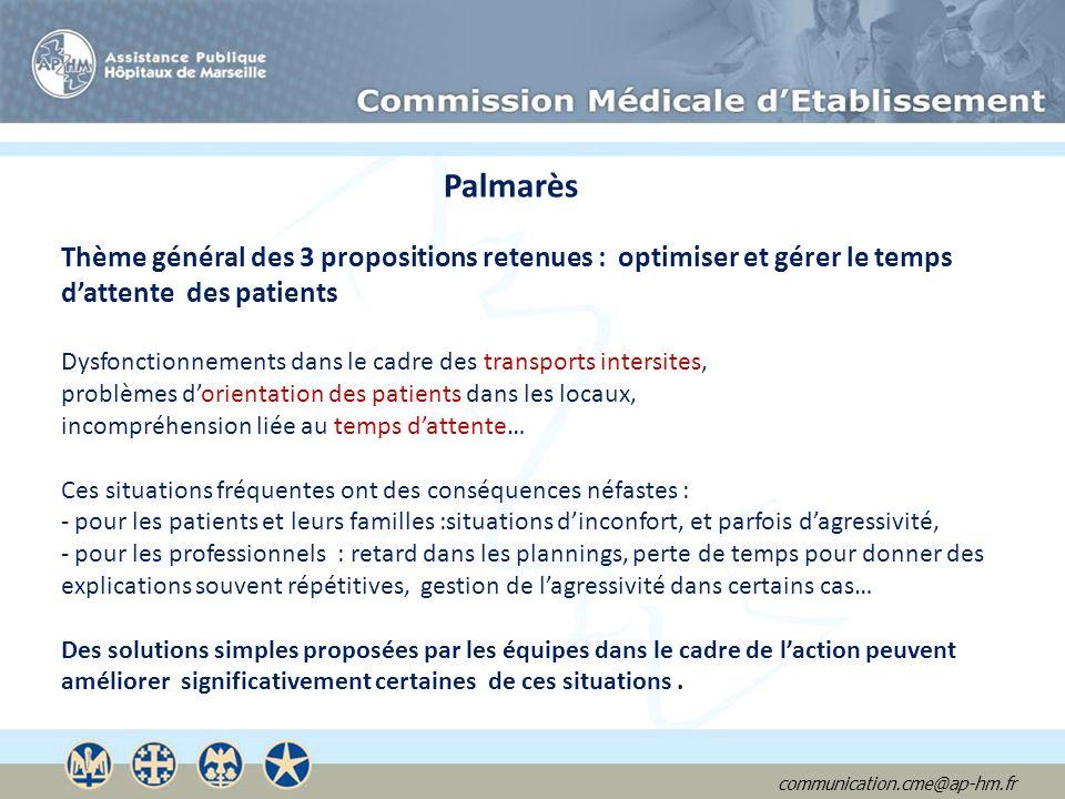 Palmarès Thème général des 3 propositions retenues : optimiser et gérer le temps. d'attente des patients.