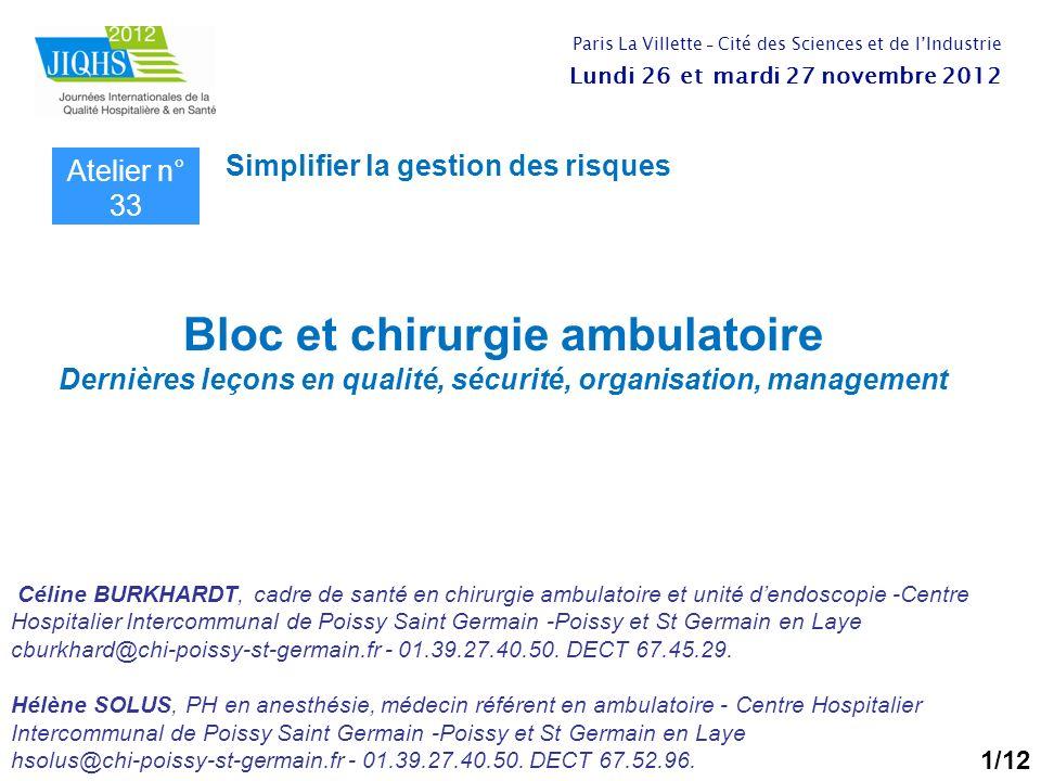 Bloc et chirurgie ambulatoire