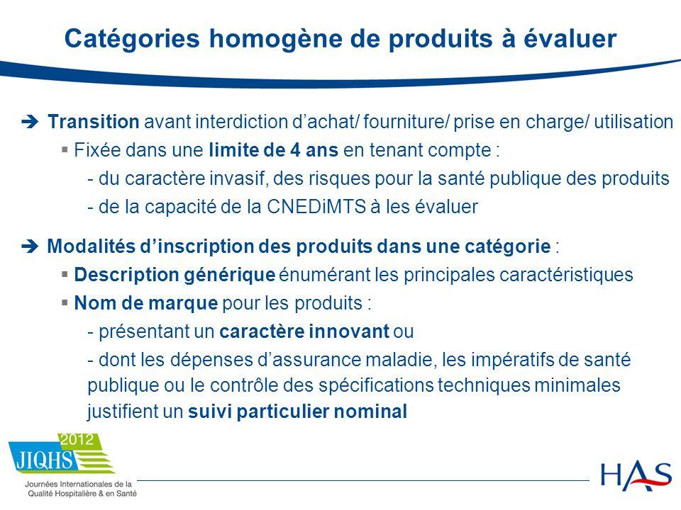 Catégories homogène de produits à évaluer