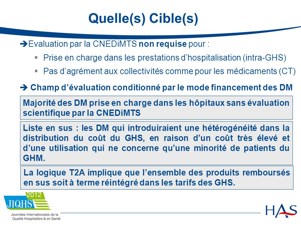 Quelle(s) Cible(s) Evaluation par la CNEDiMTS non requise pour :